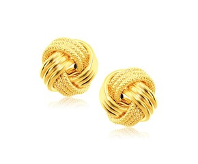Interweaved Love Knot Stud Earrings in 14k Yellow Gold