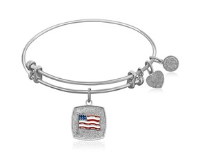 Expandable White Tone Brass Bangle with American Flag Symbol