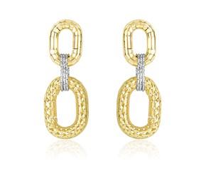 Oval Motif Diamond Cut Textured Drop Earrings in 14k Two-Tone Gold