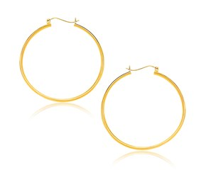 Classic Hoop Earrings in 10k Yellow Gold (40mm Diameter) (1.5mm)