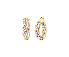 14k Tri Color Gold Three Toned Braided Hoop Earrings
