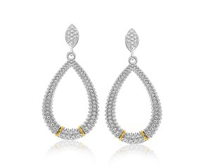 Diamond Accented Graduated Teardrop Popcorn Earrings in 18k Yellow Gold and Sterling Silver (.13cttw)