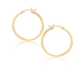 Classic Hoop Earrings in 14k Yellow Gold (25mm Diameter) (1.5mm)