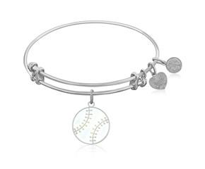 Expandable White Tone Brass Bangle with Baseball Symbol