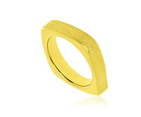 Square Style Diamond Dust Ring in Yellow Tone Sterling Silver