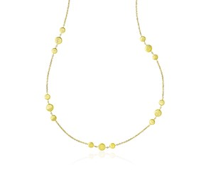 3-Cluster Satin Round Station Necklace in 14k Yellow Gold