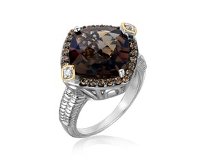 Smokey Quartz and Coffee Diamond Embellished Cushion Ring in 18k Yellow Gold and Sterling Silver (.23 cttw)