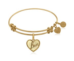 Expandable Yellow Tone Brass Bangle with Love and Mother of Pearl