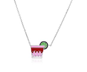Sterling Silver 18 inch Necklace with Enameled Pink Tropical Drink