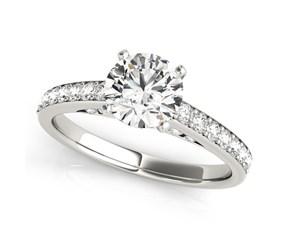 14K White Gold Single Row Prong Set Round Diamond Engagement Ring (1 3/8 ct. tw.)