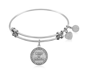 Expandable White Tone Brass Bangle with Maid Of Honor Symbol