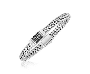 Black Sapphire Accented Weave Motif Bracelet in Sterling Silver