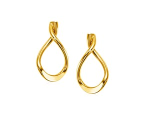 14k Yellow Gold Polished Tear Drop Earrings