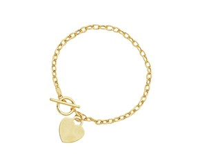 Heart Accent Toggle Bracelet in 14k Yellow Gold