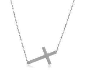Flat Crucifix Necklace in 14k White Gold