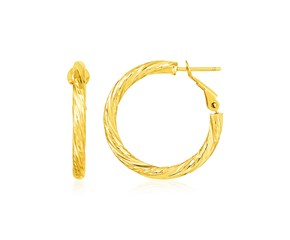 14k Yellow Gold Petite Twisted Round Hoop Earrings