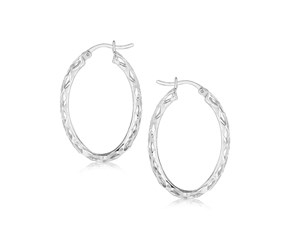 Lace Design Oval Hoop Earrings in Rhodium Plated Sterling Silver