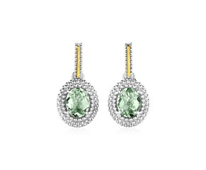 Oval Green Amethyst Earrings in 18K Yellow Gold & Sterling Silver