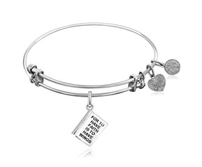 Expandable White Tone Brass Bangle with To Have Faith is to Have Wings Symbol