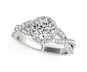 Interlaced Split Shank Round Diamond Engagement Ring in 14K White Gold (1 1/2 ct. tw.)