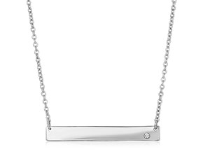 Sterling Silver Polished Bar Necklace with Cubic Zirconia