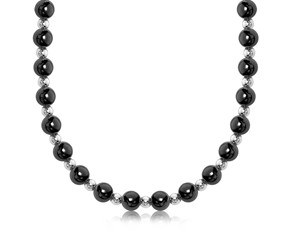 Polished Bead Style Necklace in Rhodium and Ruthenium Plated Sterling Silver