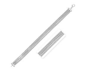 Sterling Silver 7 1/4 inch Three Strand Multiple Link Bracelet