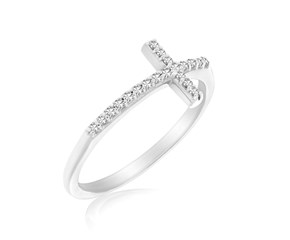 Cross Motif Ring with Diamond Accents in 14k White Gold (.11cttw)