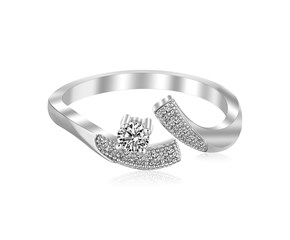 White Cubic Zirconia Studded Curve Toe Ring in Rhodium Plated Sterling Silver