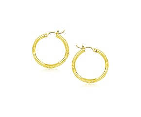 Classic Diamond Cut Hoop Earrings in 10k Yellow Gold (15mm Diameter) (2.0mm)
