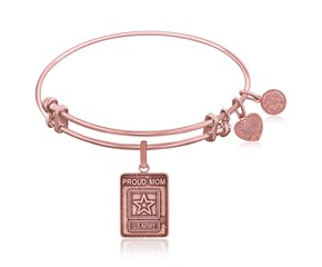 Expandable Pink Tone Brass Bangle with U.S. Army Proud Mom Symbol