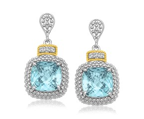 Drop Earrings with Sky Blue Topaz and Diamond Accents in 18k Yellow Gold and Sterling Silver (.05cttw)