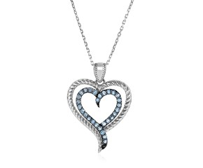 Sterling Silver Double Heart Pendant with Blue Topaz