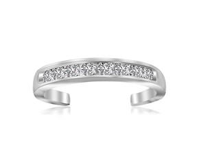 White Cubic Zirconia Embellished Toe Ring in Rhodium Plated Sterling Silver