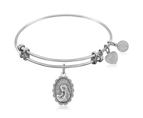 Expandable White Tone Brass Bangle with Mother's Love Symbol
