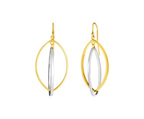 14k Two Tone Gold Earrings with Interlocking Marquise Dangles