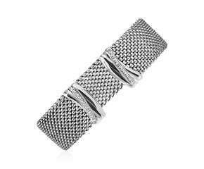 Wide Popcorn Texture Cuff Bangle with Diamonds in Sterling Silver