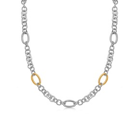 Multi Style Chain Rhodium Plated Necklace in 18k Yellow Gold and Sterling Silver