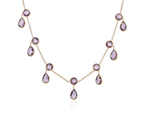 14k Yellow Gold Necklace with Round and Pear-Shaped Amethysts