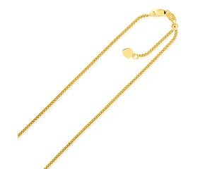 Adjustable Popcorn Chain in 14k Yellow Gold (1.3mm)