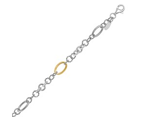 Multi-Style Rope Link Chain Bracelet in 18K Yellow Gold and Sterling Silver