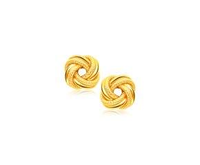 Intertwined Love Knot Stud Earrings in 14k Yellow Gold