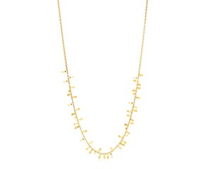 14K Yellow Gold Necklace with Polished Leaf Motifs