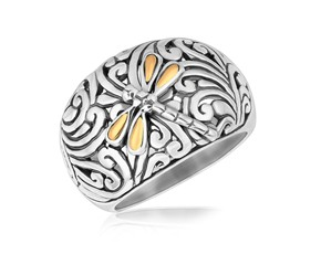 Dragonfly Motif Domed Ring in 18k Yellow Gold and Sterling Silver