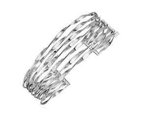 Six Row Twisted Wire Style Cuff Bangle in Sterling Silver