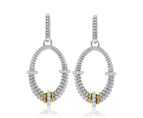 Diamond Embellished Graduated Oval Popcorn Earrings in 18k Yellow Gold and Sterling Silver (.33cttw)