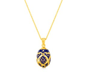 14K Yellow Gold Necklace with Sapphire Blue Enameled Egg