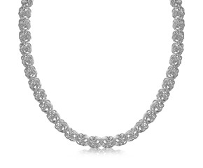 Classic Byzantine Style Necklace in Rhodium Plated Sterling Silver