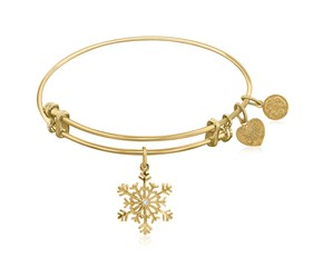 Expandable Yellow Tone Brass Bangle with Snowflake Symbol with Cubic Zirconia