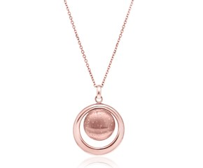 Circle Pendant with Polished Open Border in Rose Tone Sterling Silver